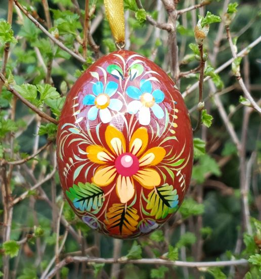 Wooden painted Easter egg, ukrainan pysanky with bird