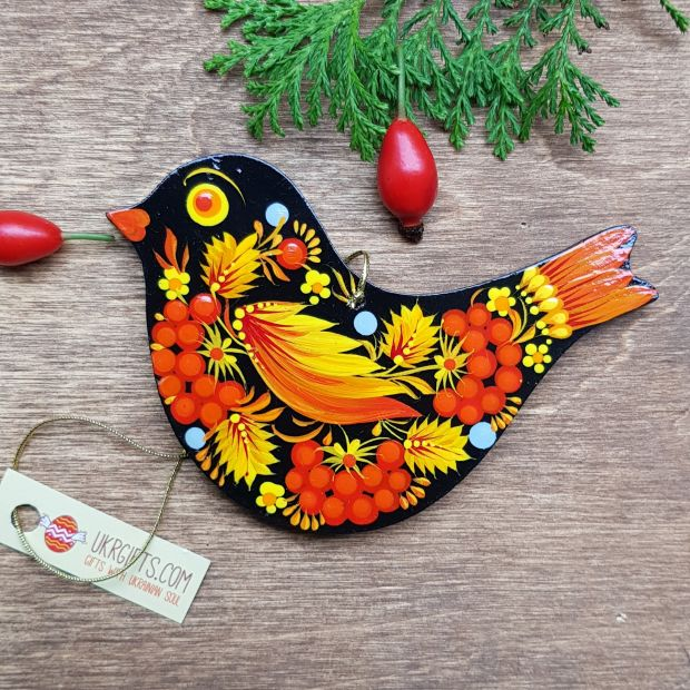 Wooden Christmas decoration-Bird, hand painted