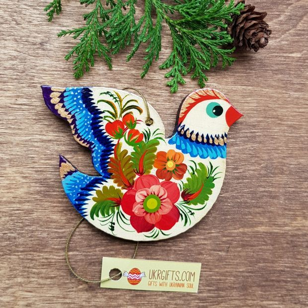 Wooden Christmas tree ornament - bird with flower pattern