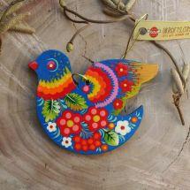 Bird Easter tree dekorations with Ukrainian painting