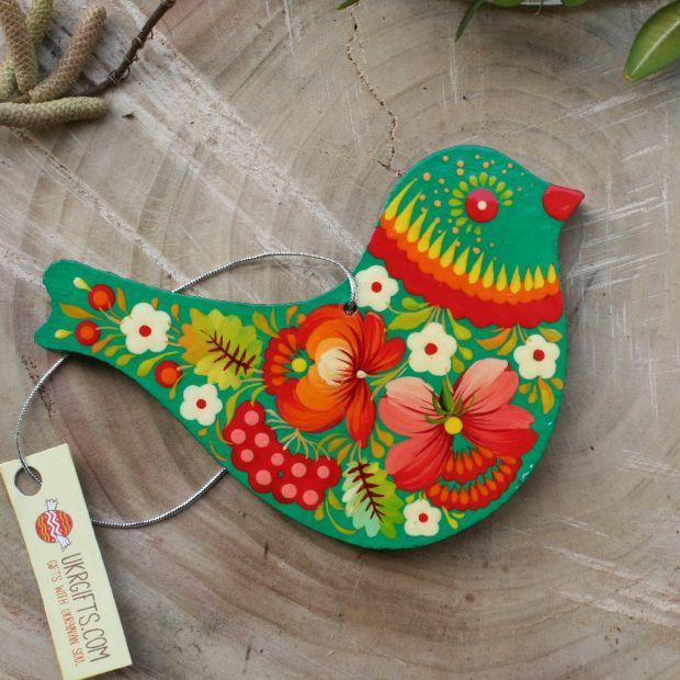 Vogel - Osterdekoration aus Holz - von Hand bemalt