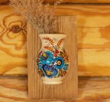Small wall decor, hanging vase for the dry flowers, handpainting