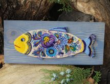 Fish - wall decoration on blue wood, handpainted
