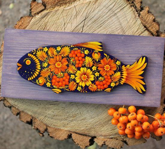 Wanddekoration aus Holz- Fisch zart- und kunstvoll- bemalt