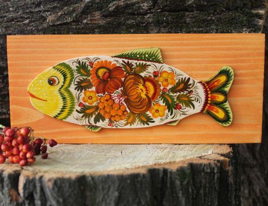 Fish - wall decoration on orange wood, handmade