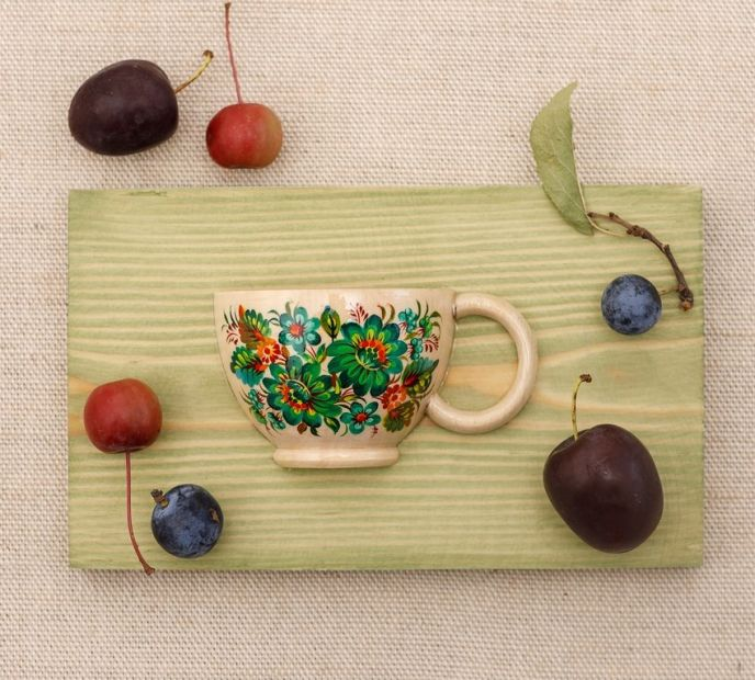 Creative wall decor, small hand painted cup with green flowers