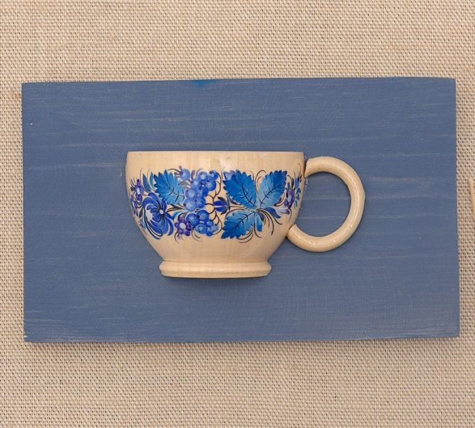 Kitchen wall art, small wooden cup for dry flowers, handmade