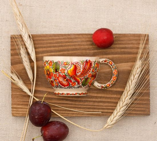 Rustic wooden wall decor, small hand painted cup