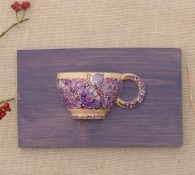 Pretty wooden wall decor, small hand painted cup