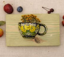 Unique wooden wall decor, small cup for dry flowers