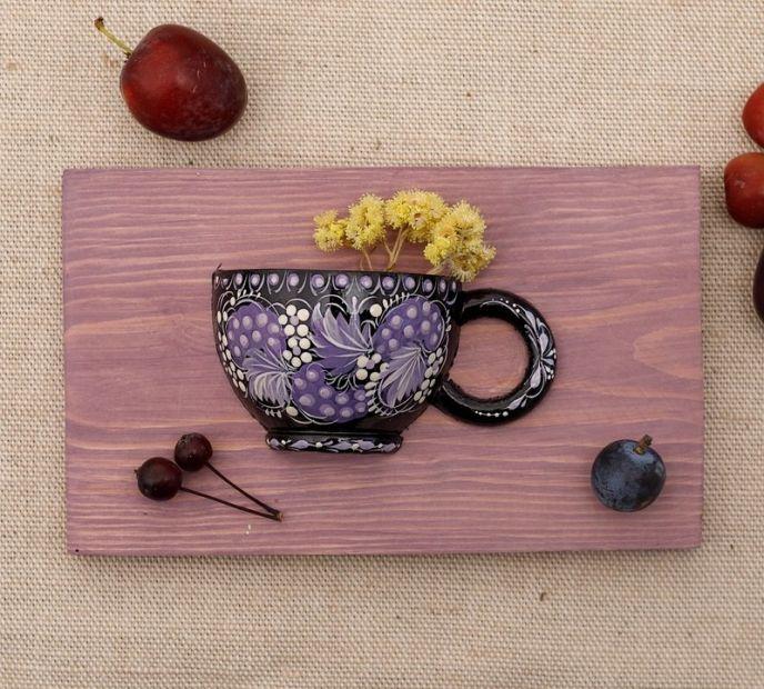 Exklusive Wanddeko mit Trockenblumen für die Küche oder Esszimmer, Handmalerei
