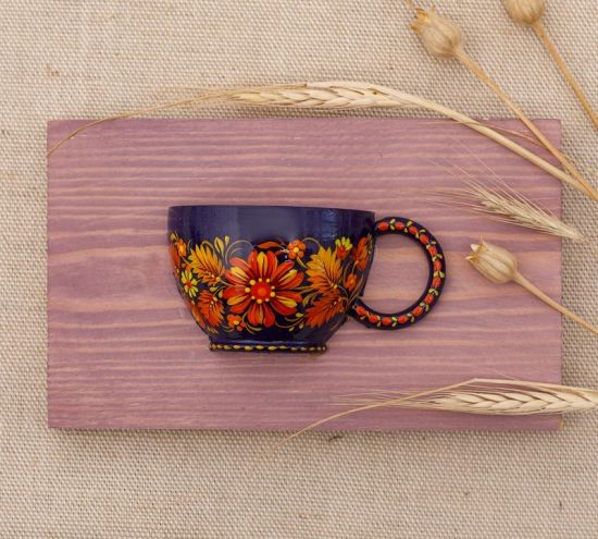 Small wall decoration, wooden hand painted cup, Petrykivka painting