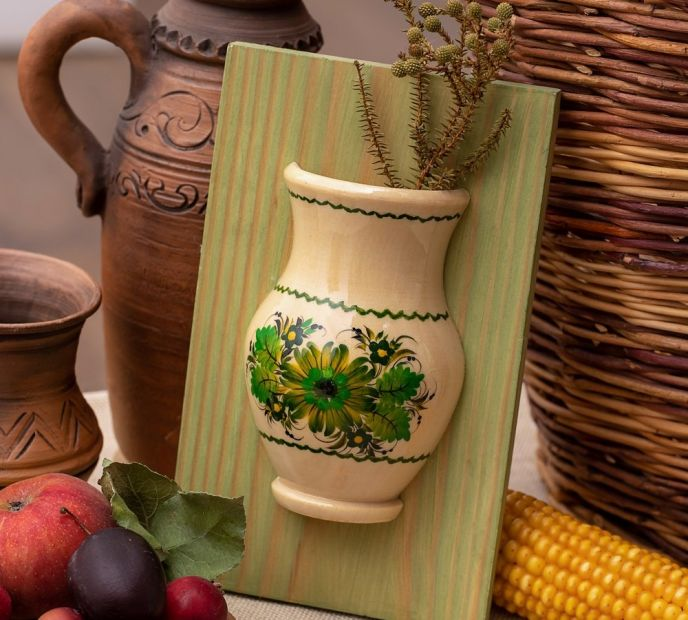 Wooden art home decoration, small hanging vase, ukrainian painting