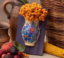 Small wooden art home decoration, hanging wall vase with ukrainian painting