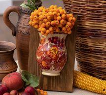 Schöne Wanddekoration aus Holz, handbemalte Vase für Trockenblumen