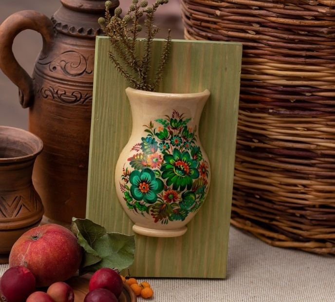 Small wooden art home decoration, hanging wall vase with green flowers