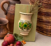 Wooden art home decoration, small hanging vase, ukrainian crafts