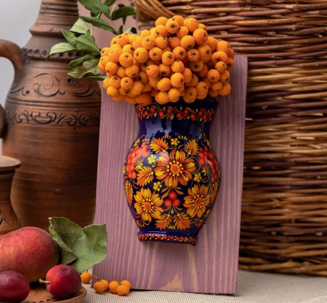 Unique wall art, wooden wall vase with, handpainting