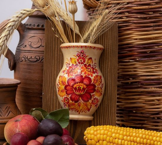 Small wall decor, hanging vase for the dry flowers, ukrainian folk art