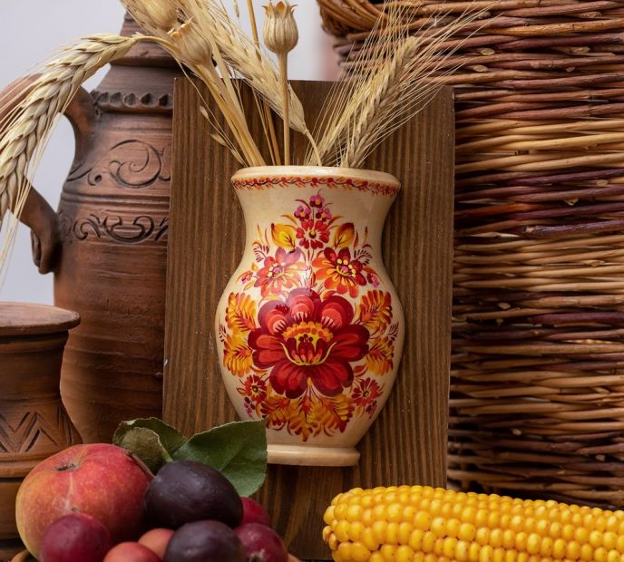 Small wall decor, hanging vase for the dry flowers, ukrainian painting