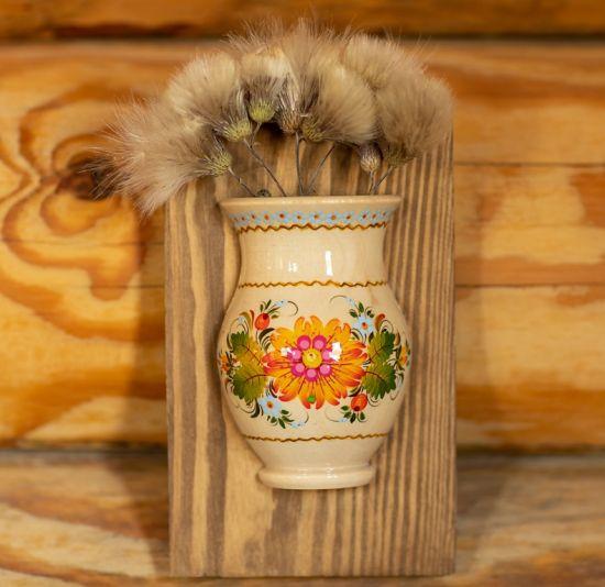 Wooden wall decor, small vase for dry flowers, ukrainian art
