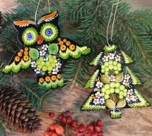 Wooden Christmas tree decorations-owl and tree