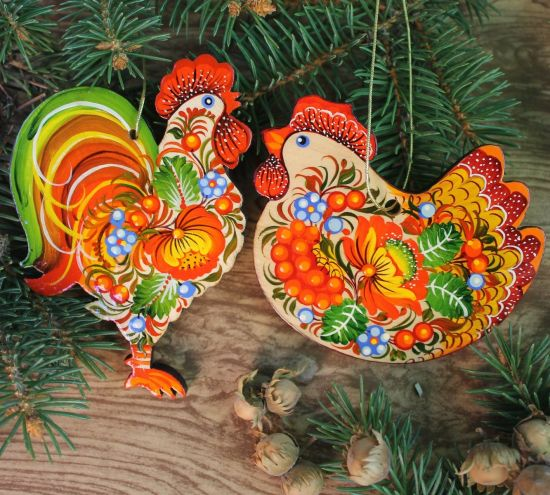 Christmas ornaments set- Rooster and Chicken- fine hand painted