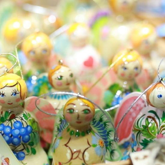 Weihnachtsschmuck Engel und Glöckchen aus Holz mit blauem Muster