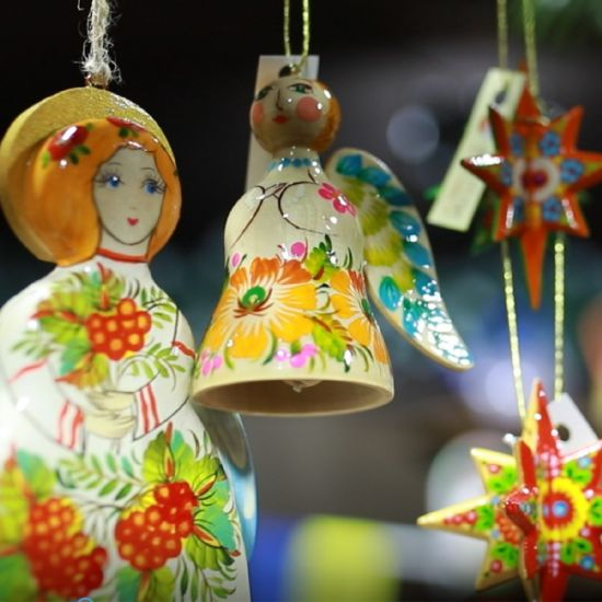 Wooden Christmas angel decorations and bell handmade