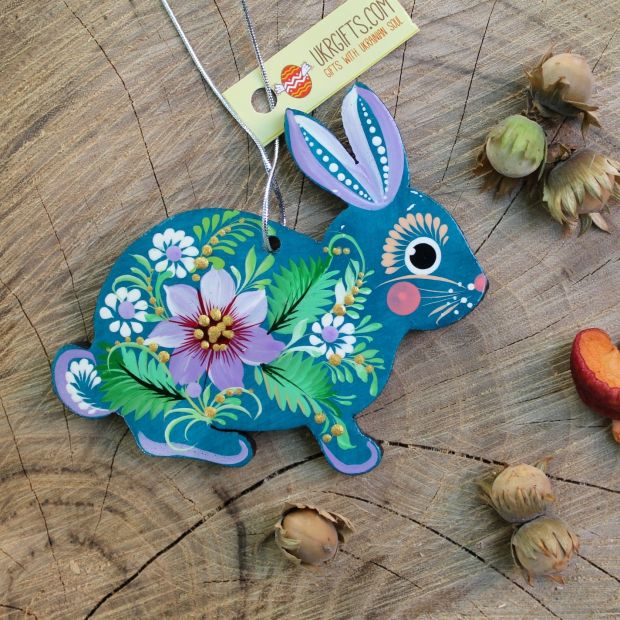 Christmas ornament wooden figures - Rabbit, traditional painting