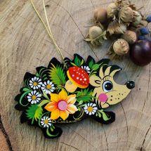 Christmas decoration hedgehog wooden ornaments - Ukrainian handicrafts