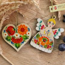 Rustic Christmas ornamnets Angel and heart decoration