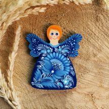 Schutzengel-Kühlschrankmagnet aus Holz mit blauem Muster