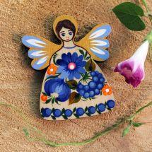 Schutzengel mit Blumenmuster- Magnet für den Kühlschrank