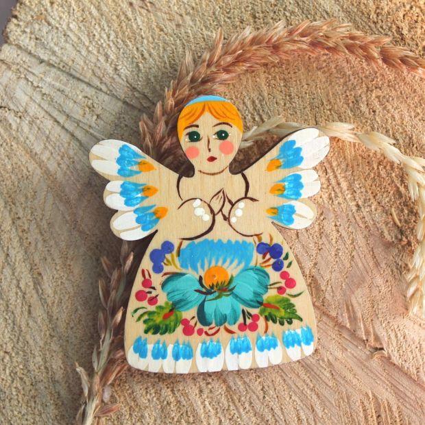 Angel with flower ornament - handmade fridge magnet