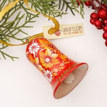 Red Christmas bell ornament, with a floral pattern