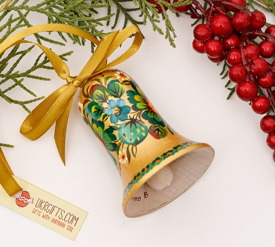 Wooden Christmas bell, gold and green