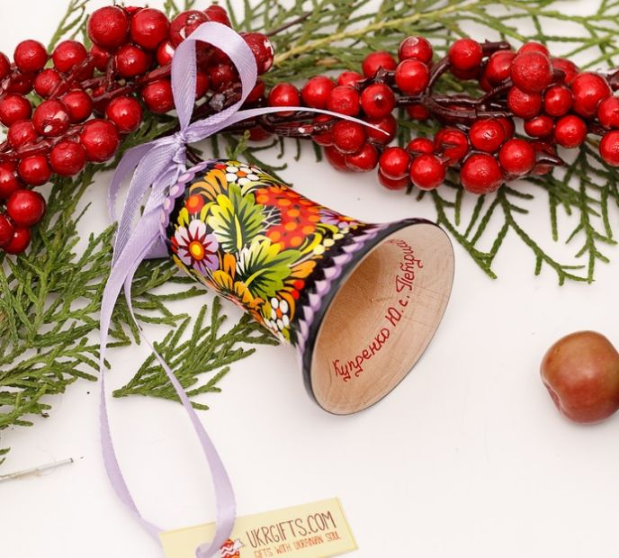 Wooden hand painted ethnic christmas bell decoration, Petrykivka painting