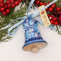 Handgefertigtes Weihnachtsglöckchen, blau und weiß