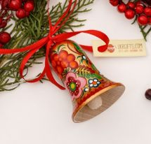 Christmas bell ornament, golden with a floral pattern