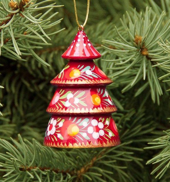 Rotes Weihnachtsglöckchen - Tannenbäumchen aus Holz