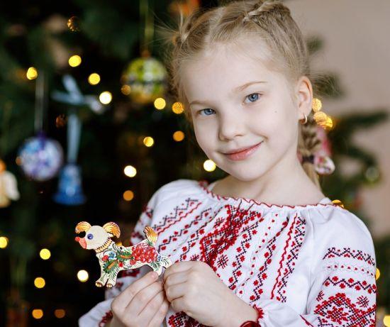 Lustiger Weihnachtsschmuck Figur - Hund, ukrainische Lackmalerei