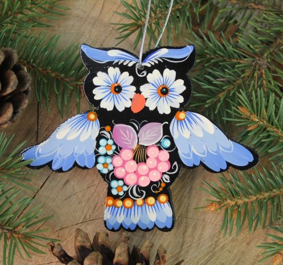 Beautiful owl - special Christmas decorations made of wood, hand painted