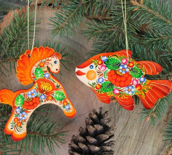 Christmas ornaments set- Horse and Fish- fine painted