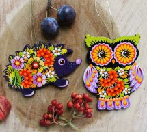Wooden Christmas tree decorations-funny animals-owl and hedgehog