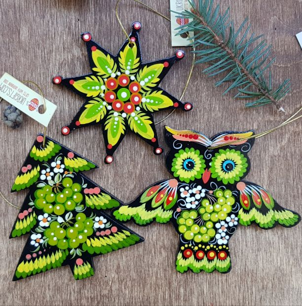 Hand painted wooden Christmas ornaments, set (Owl, Star and Christmas tree)