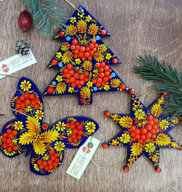 Hand painted christmas tree decoration, wooden christmas ornament