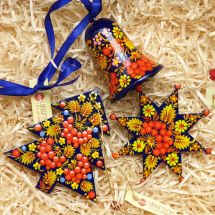 Set of handmade wooden Christmas ornaments (Christmas tree, Star, bell) hand painting