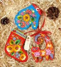 Wooden Christmas tree ornaments set for children (cat, mitten and christmas sock), hand painting
