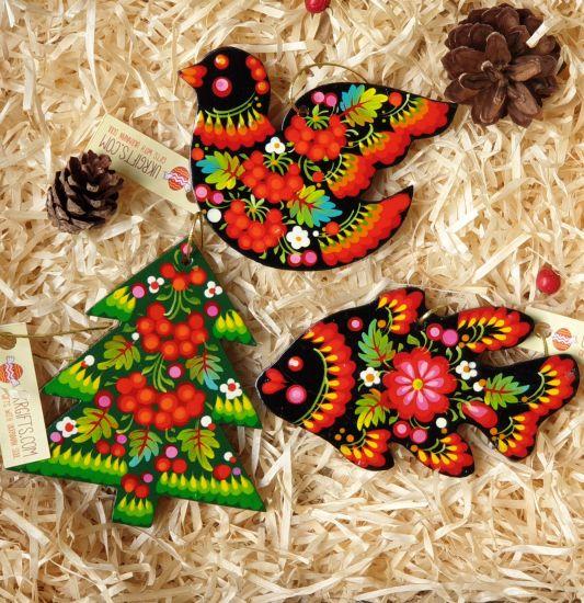 Holz Weihnachtsschmuck Set (Vogel, Christbaum, Fisch), traditionelle ukrainische Handarbeit